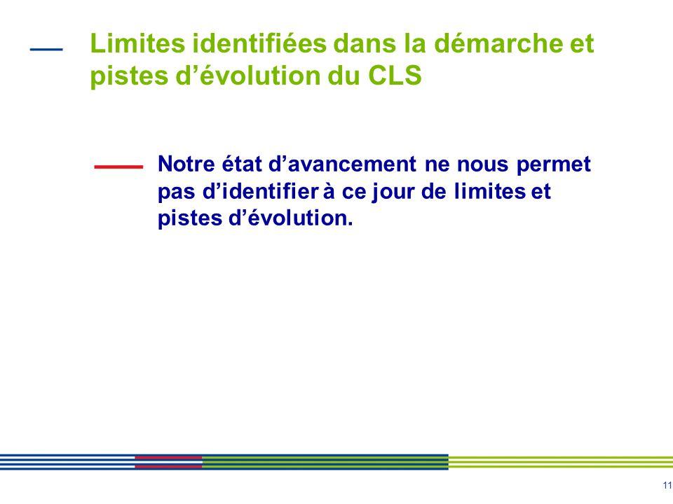11 Limites identifiées dans la démarche et pistes dévolution du CLS Notre état davancement ne nous permet pas didentifier à ce jour de limites et pistes dévolution.
