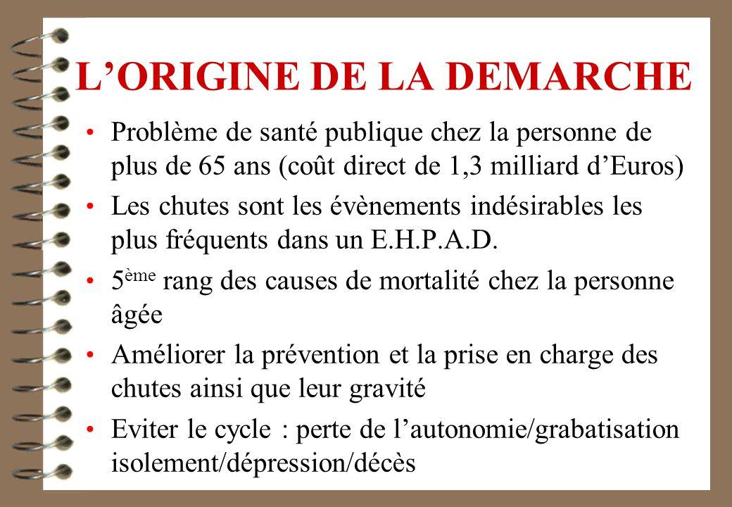 LORIGINE DE LA DEMARCHE Problème de santé publique chez la personne de plus de 65 ans (coût direct de 1,3 milliard dEuros) Les chutes sont les évènements indésirables les plus fréquents dans un E.H.P.A.D.