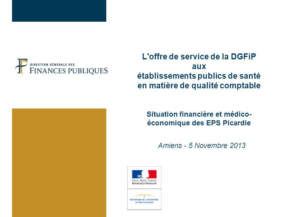 L'offre de service de la DGFiP aux établissements publics de santé en matière de qualité comptable Situation financière et médico- économique des EPS