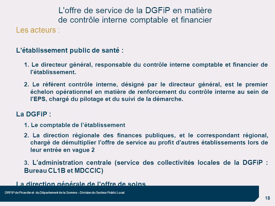 18 DRFiP de Picardie et du Département de la Somme – Division du Secteur Public Local Les acteurs : L'établissement public de santé : 1. Le directeur