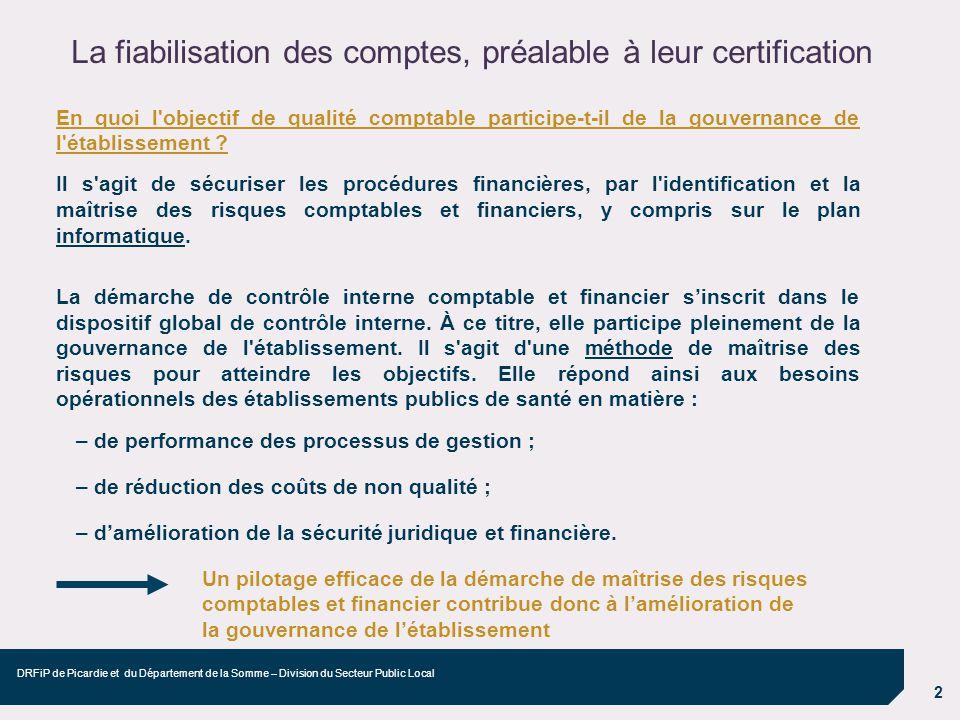 2 DRFiP de Picardie et du Département de la Somme – Division du Secteur Public Local En quoi l'objectif de qualité comptable participe-t-il de la gouv