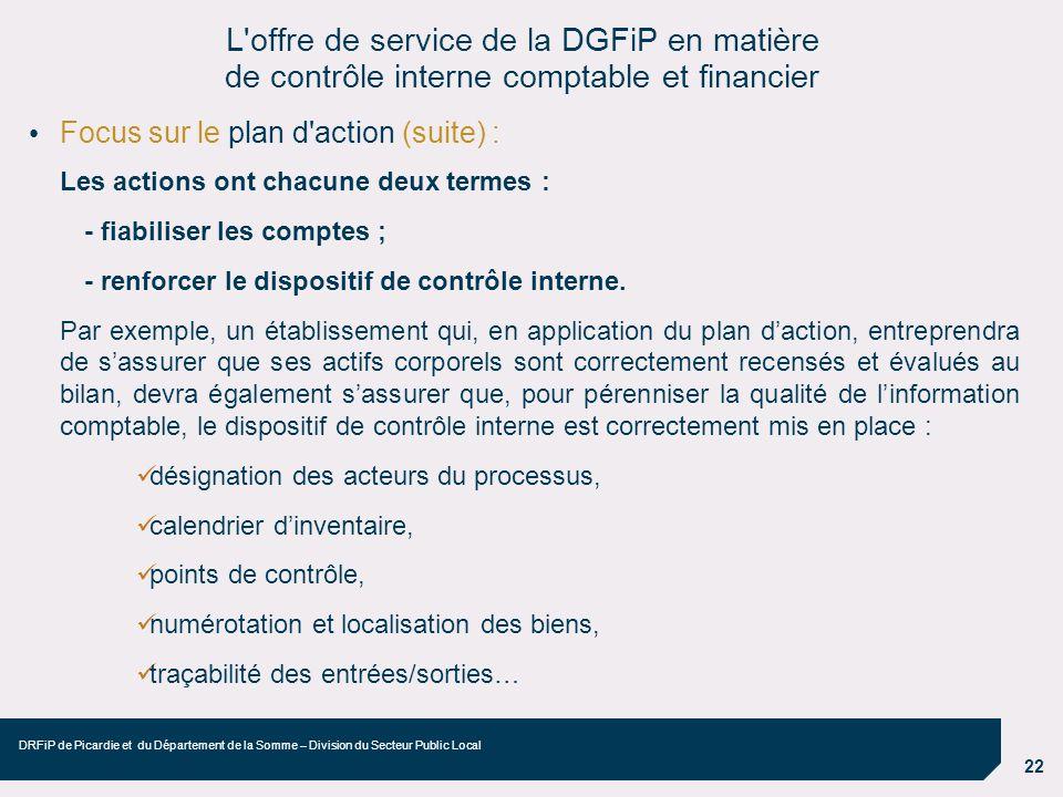 22 DRFiP de Picardie et du Département de la Somme – Division du Secteur Public Local Focus sur le plan d'action (suite) : Les actions ont chacune deu