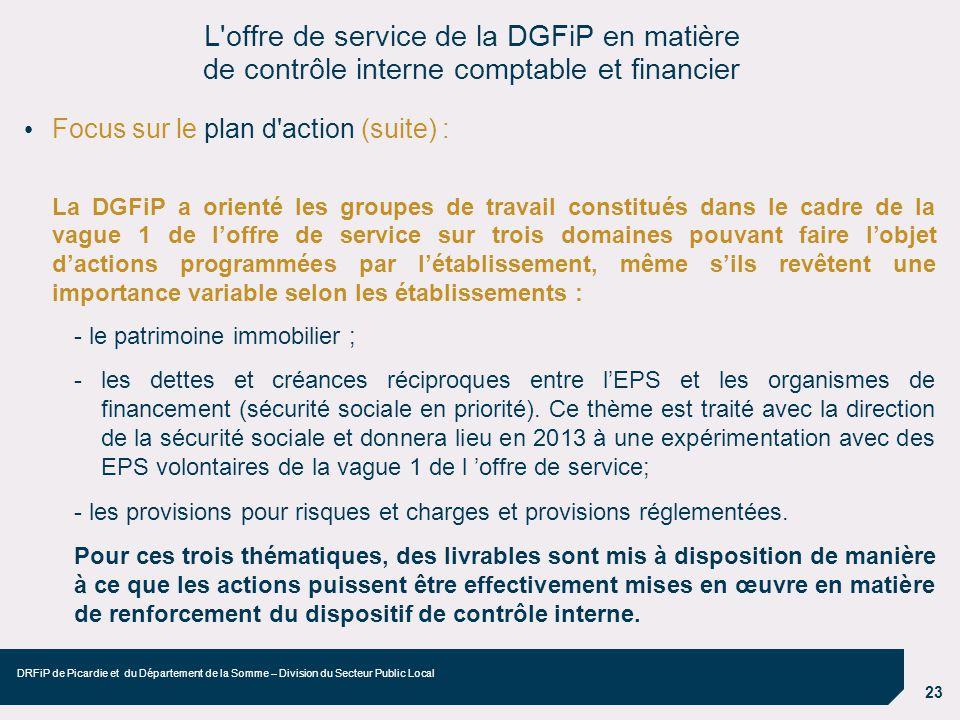 23 DRFiP de Picardie et du Département de la Somme – Division du Secteur Public Local Focus sur le plan d'action (suite) : La DGFiP a orienté les grou