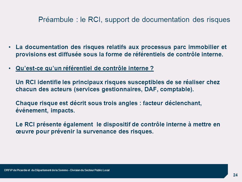 24 DRFiP de Picardie et du Département de la Somme – Division du Secteur Public Local Préambule : le RCI, support de documentation des risques La docu