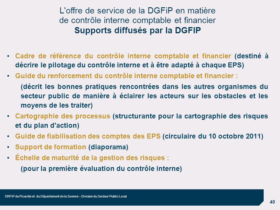 40 DRFiP de Picardie et du Département de la Somme – Division du Secteur Public Local Cadre de référence du contrôle interne comptable et financier (d