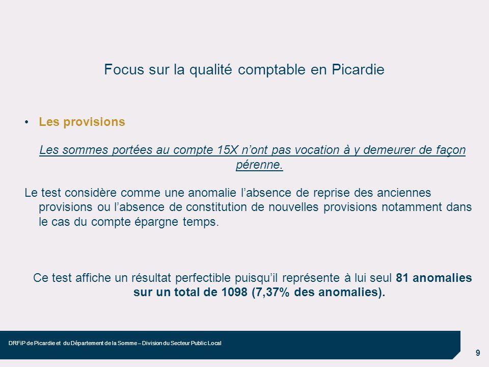 9 DRFiP de Picardie et du Département de la Somme – Division du Secteur Public Local Focus sur la qualité comptable en Picardie Les provisions Les som