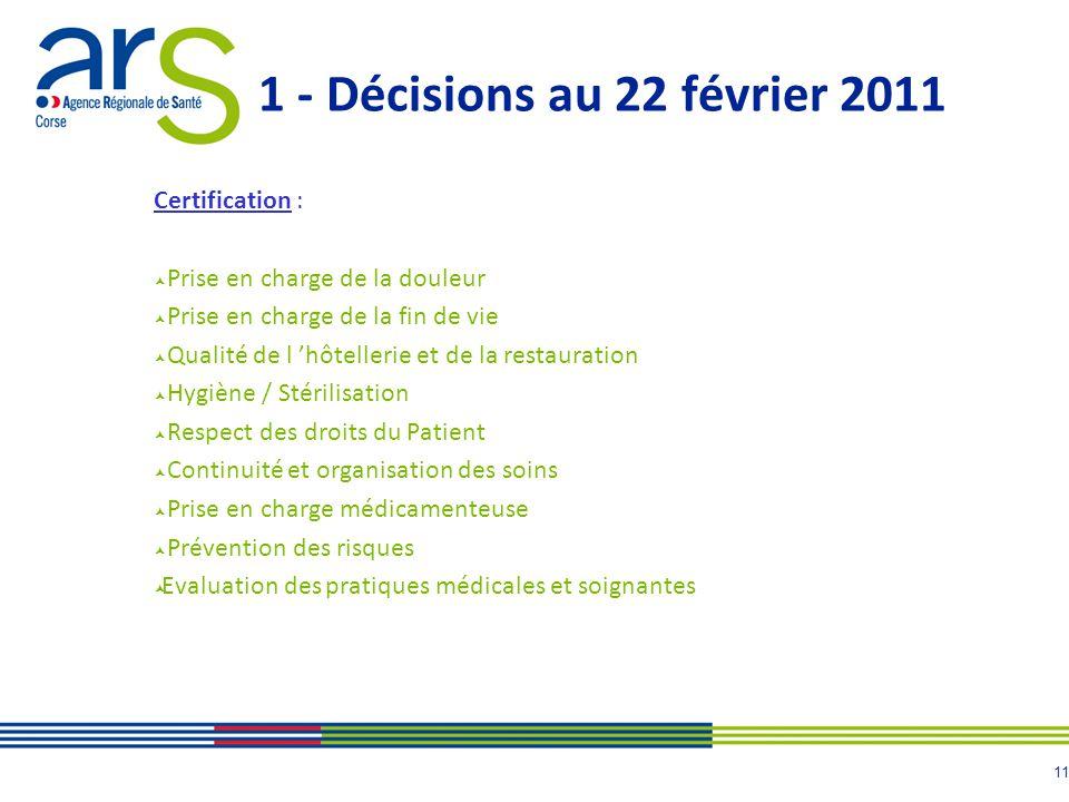 12 1 - Révision du Manuel de certification V2010 en avril 2011 Hospitalisation à domicile, Santé mentale et Biologie.