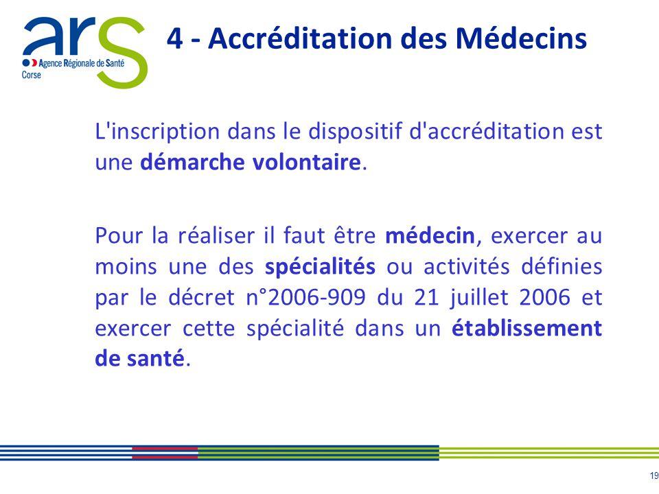 20 4 - Accréditation des Médecins 14 des spécialités concernées par laccréditation des médecins ont un organisme agréé et 12 ont défini leurs programmes de gestion des risques, dont notamment la liste des événements porteurs de risques médicaux (EPR) ciblés.