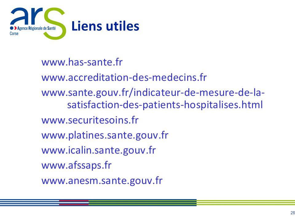 28 Liens utiles www.has-sante.fr www.accreditation-des-medecins.fr www.sante.gouv.fr/indicateur-de-mesure-de-la- satisfaction-des-patients-hospitalises.html www.securitesoins.fr www.platines.sante.gouv.fr www.icalin.sante.gouv.fr www.afssaps.fr www.anesm.sante.gouv.fr