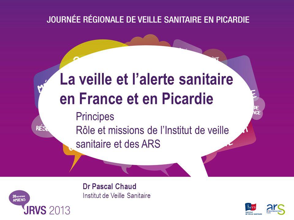 La veille et lalerte sanitaire en France et en Picardie Principes Rôle et missions de lInstitut de veille sanitaire et des ARS Dr Pascal Chaud Institu