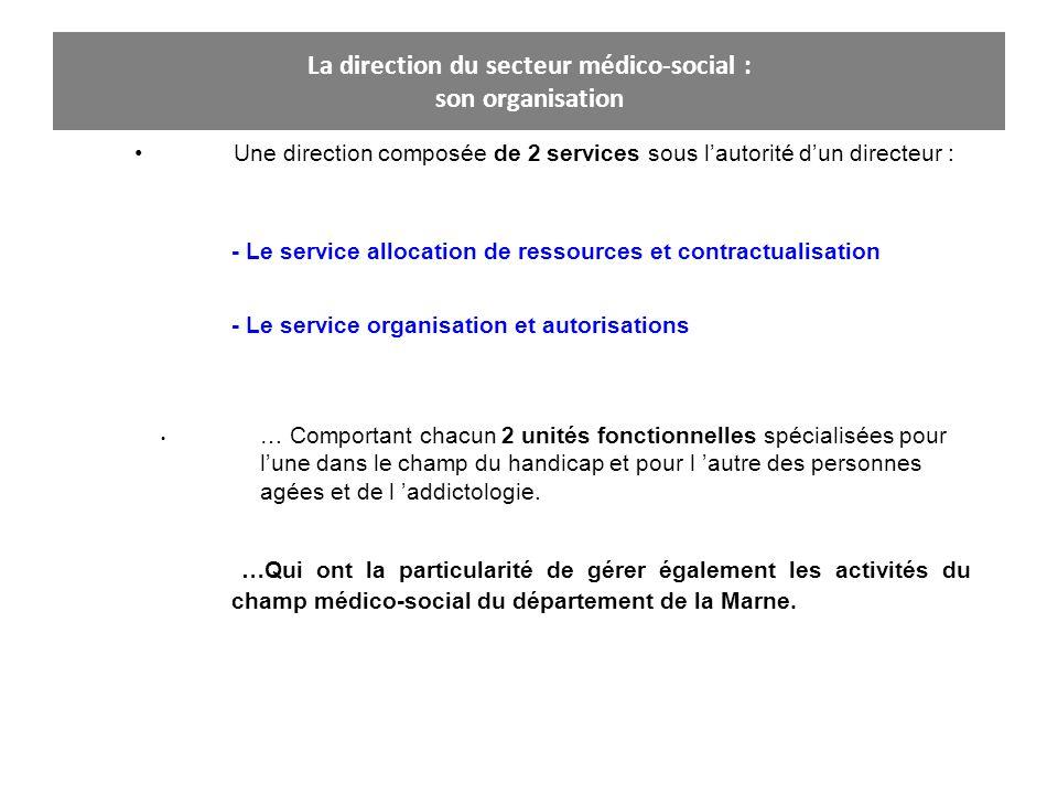 La direction du secteur médico-social : son organisation Une direction composée de 2 services sous lautorité dun directeur : - Le service allocation d