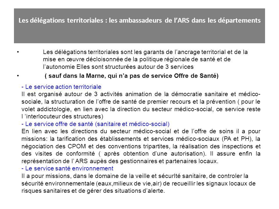 Les délégations territoriales : les ambassadeurs de lARS dans les départements Les délégations territoriales sont les garants de lancrage territorial