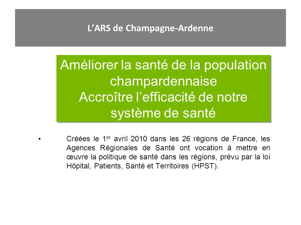 LARS de Champagne-Ardenne Améliorer la santé de la population champardennaise Accroître lefficacité de notre système de santé Améliorer la santé de la