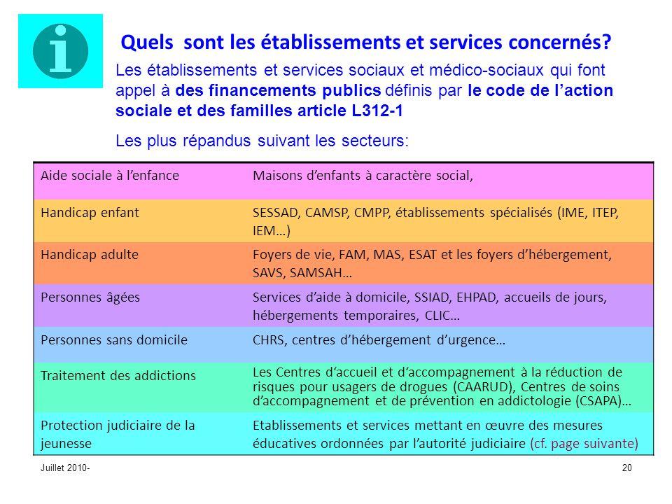 Juillet 2010-20 Quels sont les établissements et services concernés? Les établissements et services sociaux et médico-sociaux qui font appel à des fin