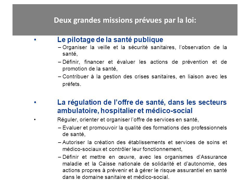 Deux grandes missions prévues par la loi: Le pilotage de la santé publique –Organiser la veille et la sécurité sanitaires, lobservation de la santé, –