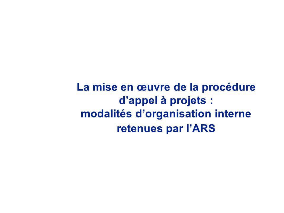 La mise en œuvre de la procédure dappel à projets : modalités dorganisation interne retenues par lARS
