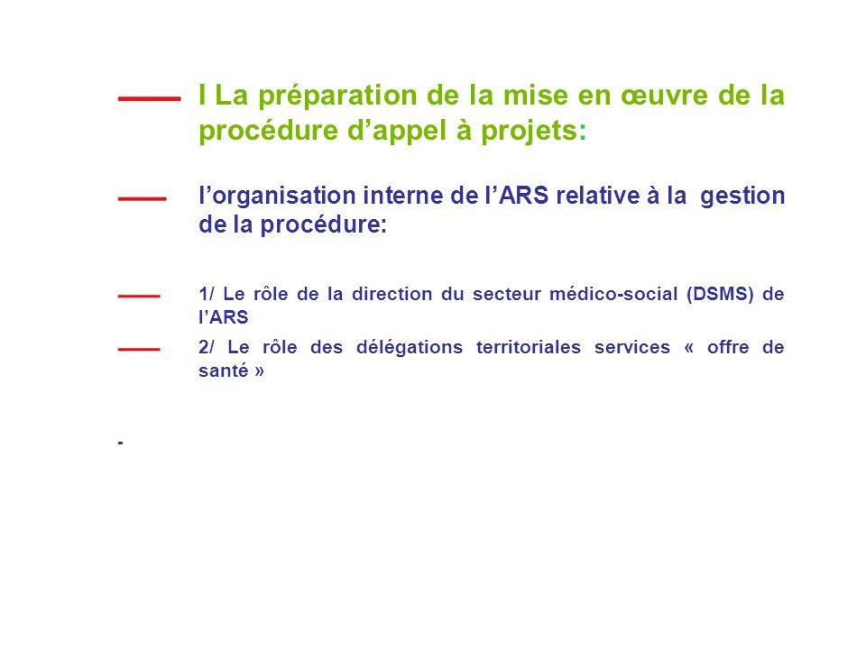I La préparation de la mise en œuvre de la procédure dappel à projets: lorganisation interne de lARS relative à la gestion de la procédure: 1/ Le rôle de la direction du secteur médico-social (DSMS) de lARS 2/ Le rôle des délégations territoriales services « offre de santé » -