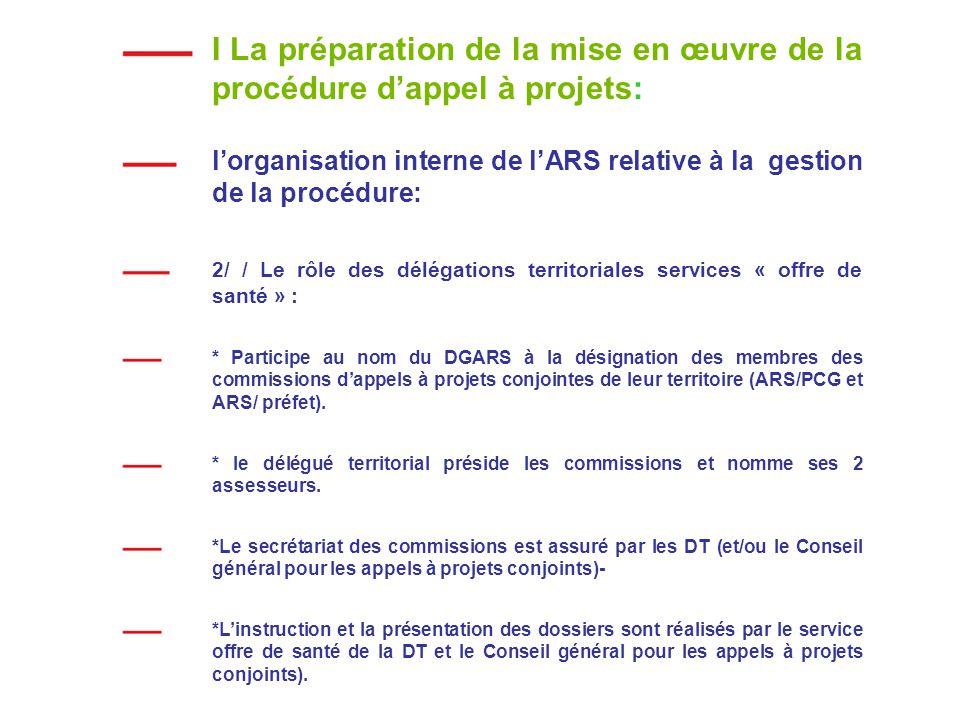I La préparation de la mise en œuvre de la procédure dappel à projets: lorganisation interne de lARS relative à la gestion de la procédure: 2/ / Le rôle des délégations territoriales services « offre de santé » : * Participe au nom du DGARS à la désignation des membres des commissions dappels à projets conjointes de leur territoire (ARS/PCG et ARS/ préfet).