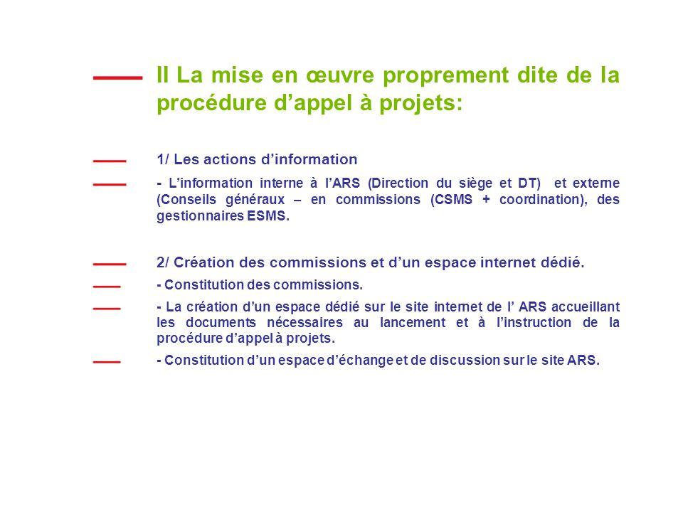 II La mise en œuvre proprement dite de la procédure dappel à projets: 1/ Les actions dinformation - Linformation interne à lARS (Direction du siège et DT) et externe (Conseils généraux – en commissions (CSMS + coordination), des gestionnaires ESMS.