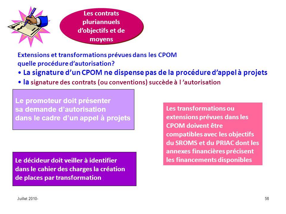 Juillet 2010-58 Les contrats pluriannuels dobjectifs et de moyens Extensions et transformations prévues dans les CPOM quelle procédure dautorisation?