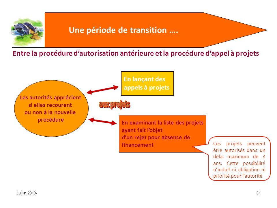 Juillet 2010-61 Une période de transition ….