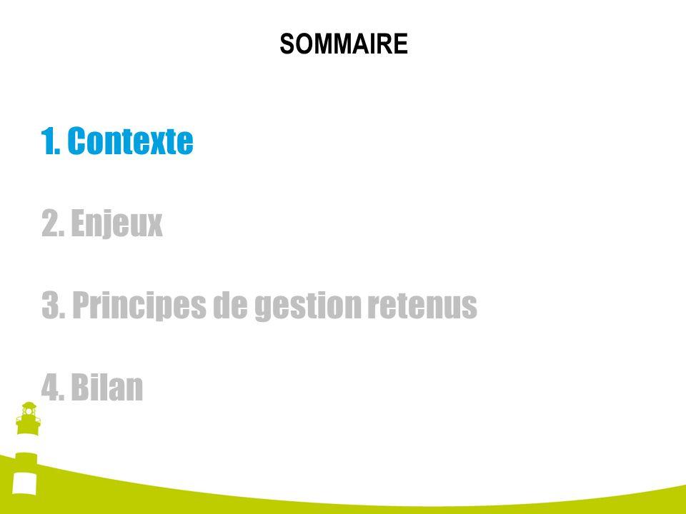 SOMMAIRE 1. Contexte 2. Enjeux 3. Principes de gestion retenus 4. Bilan