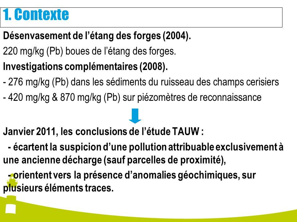 Désenvasement de létang des forges (2004). 220 mg/kg (Pb) boues de létang des forges. Investigations complémentaires (2008). - 276 mg/kg (Pb) dans les