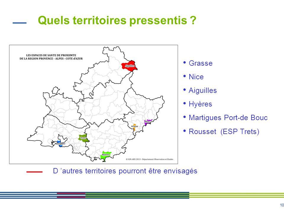 10 Quels territoires pressentis ? Grasse Nice Aiguilles Hyères Martigues Port-de Bouc Rousset (ESP Trets) D autres territoires pourront être envisagés
