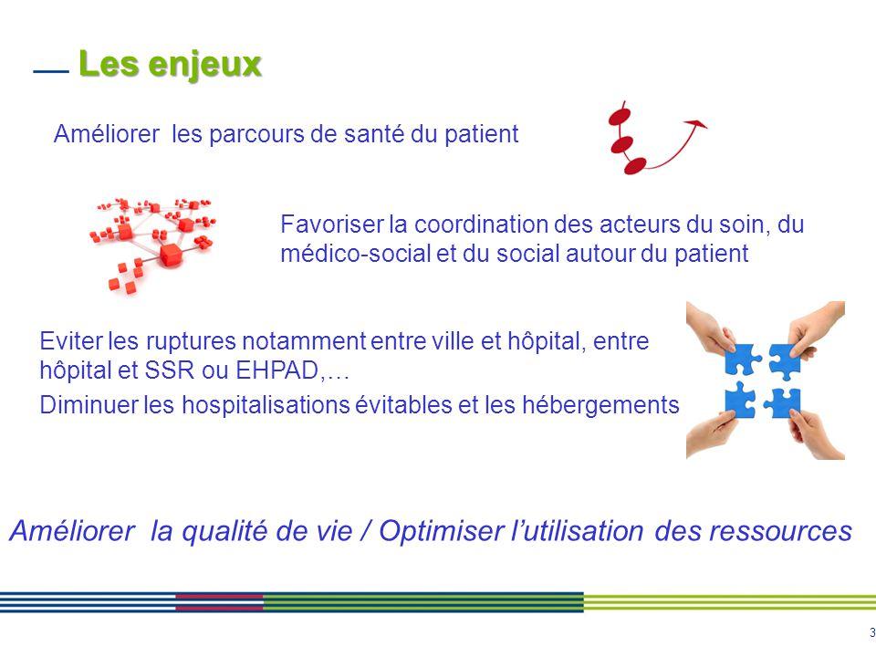 3 Les enjeux Améliorer les parcours de santé du patient Favoriser la coordination des acteurs du soin, du médico-social et du social autour du patient
