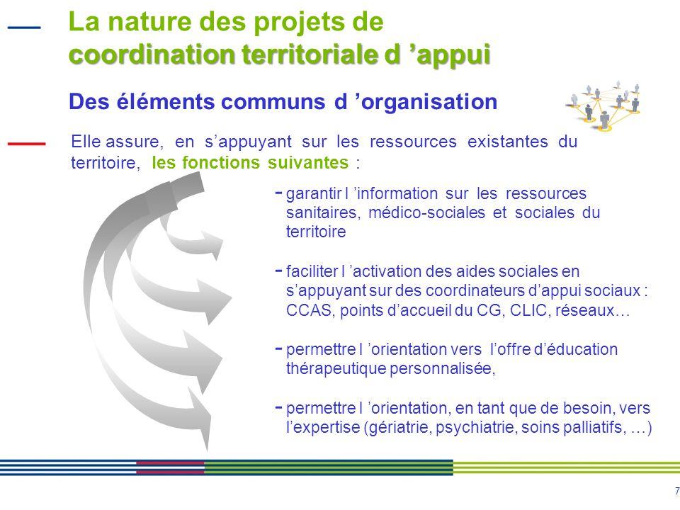7 coordination territoriale d appui La nature des projets de coordination territoriale d appui Des éléments communs d organisation Elle assure, en sap