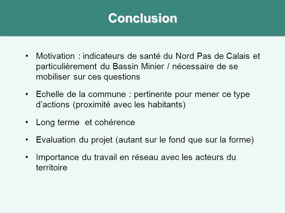 Motivation : indicateurs de santé du Nord Pas de Calais et particulièrement du Bassin Minier / nécessaire de se mobiliser sur ces questions Echelle de
