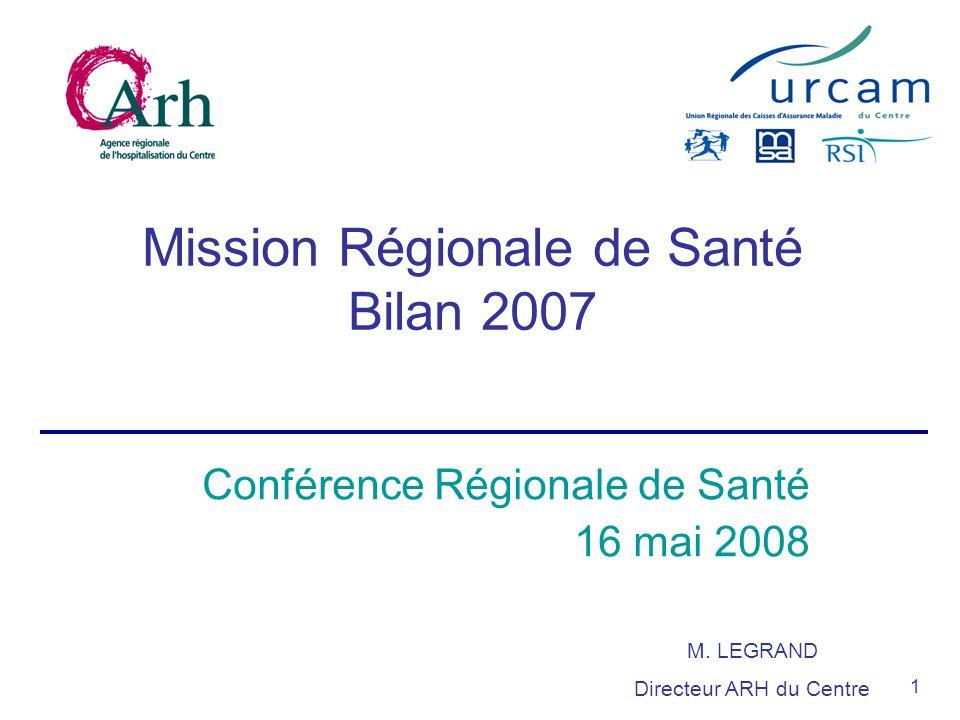 1 Mission Régionale de Santé Bilan 2007 Conférence Régionale de Santé 16 mai 2008 M.