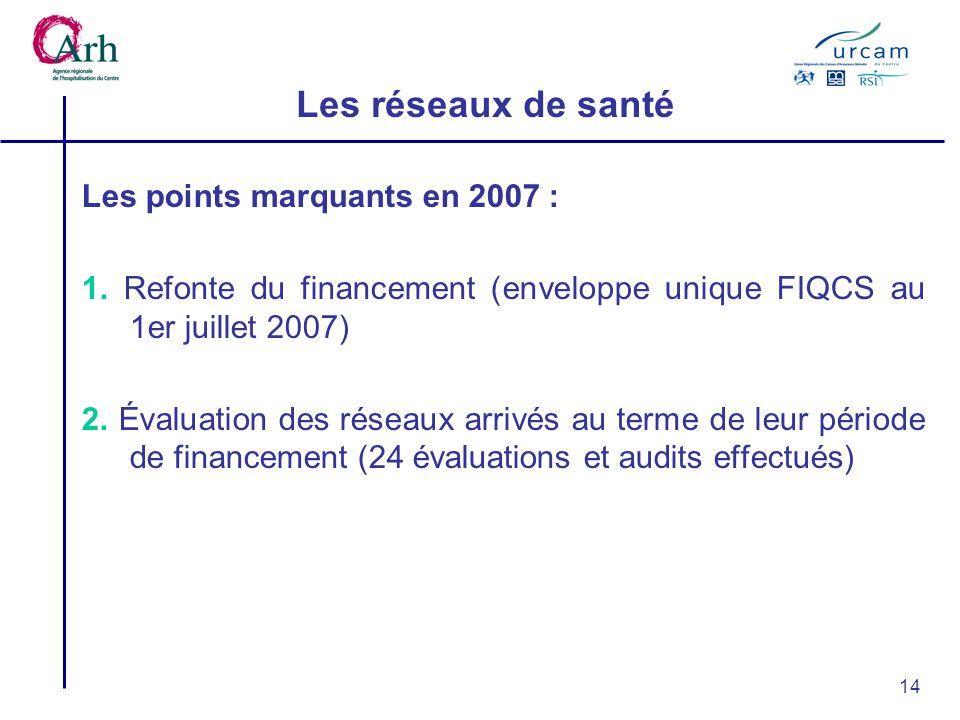 14 Les réseaux de santé Les points marquants en 2007 : 1.