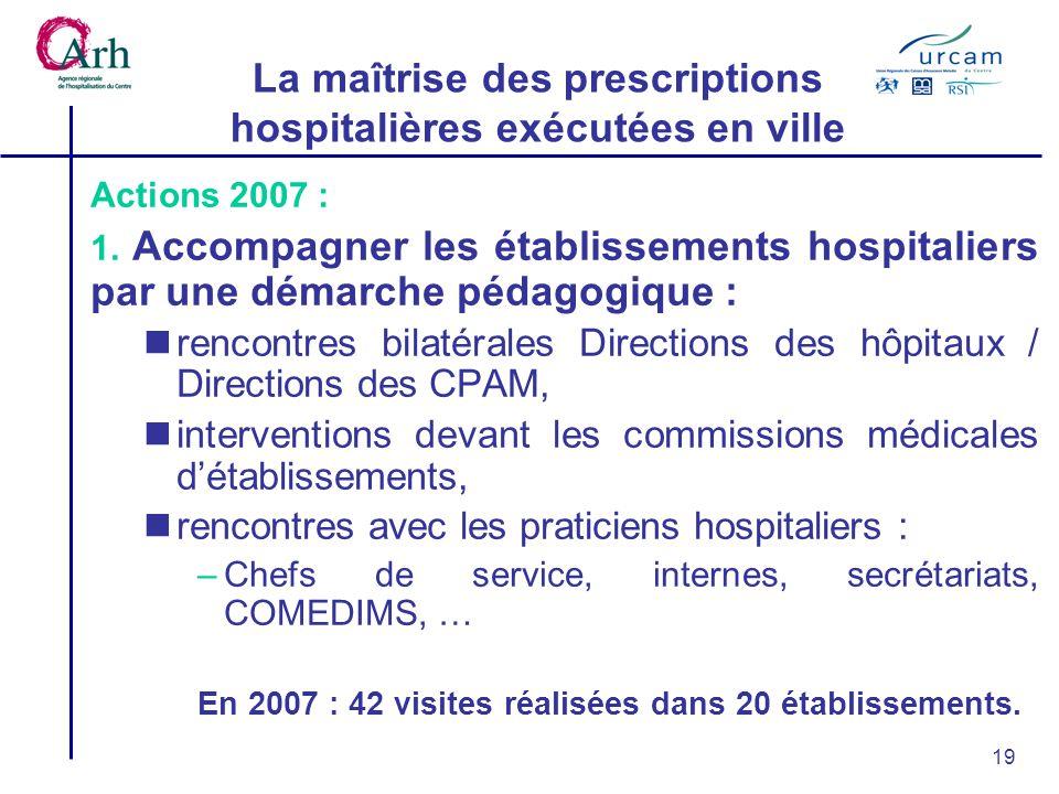 19 Actions 2007 : 1. Accompagner les établissements hospitaliers par une démarche pédagogique : rencontres bilatérales Directions des hôpitaux / Direc
