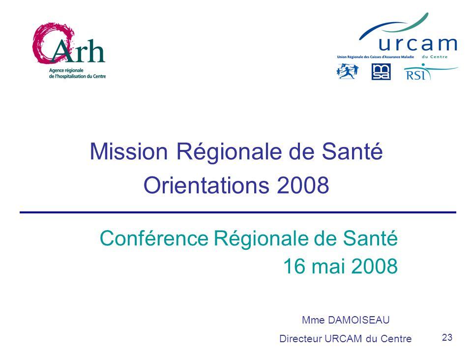 23 Mission Régionale de Santé Orientations 2008 Mme DAMOISEAU Directeur URCAM du Centre Conférence Régionale de Santé 16 mai 2008