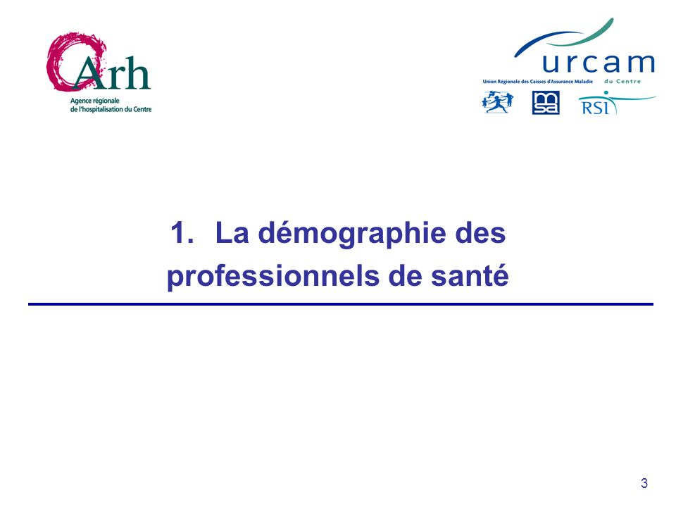 3 1.La démographie des professionnels de santé
