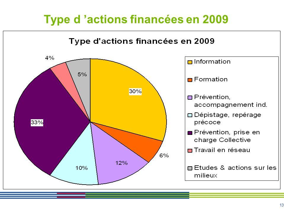 13 Type d actions financées en 2009
