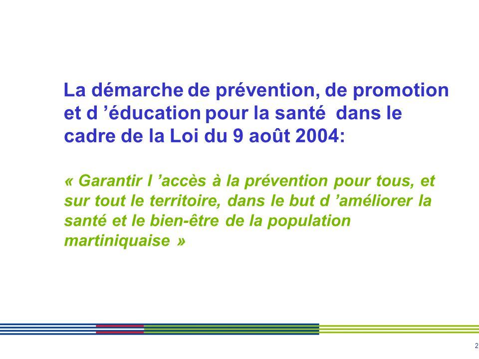 2 La démarche de prévention, de promotion et d éducation pour la santé dans le cadre de la Loi du 9 août 2004: « Garantir l accès à la prévention pour tous, et sur tout le territoire, dans le but d améliorer la santé et le bien-être de la population martiniquaise »
