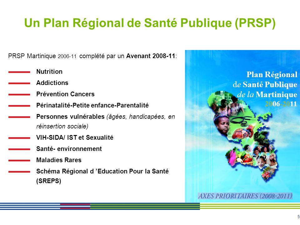 5 Un Plan Régional de Santé Publique (PRSP) PRSP Martinique 2006-11 complété par un Avenant 2008-11: Nutrition Addictions Prévention Cancers Périnatalité-Petite enfance-Parentalité Personnes vulnérables (âgées, handicapées, en réinsertion sociale) VIH-SIDA/ IST et Sexualité Santé- environnement Maladies Rares Schéma Régional d Education Pour la Santé (SREPS) Plan Régional de Santé Publique de la Martinique 2006-2011