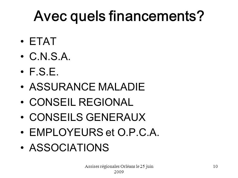 Assises régionales Orléans le 25 juin 2009 10 Avec quels financements? ETAT C.N.S.A. F.S.E. ASSURANCE MALADIE CONSEIL REGIONAL CONSEILS GENERAUX EMPLO