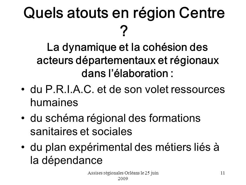 Assises régionales Orléans le 25 juin 2009 11 Quels atouts en région Centre ? La dynamique et la cohésion des acteurs départementaux et régionaux dans