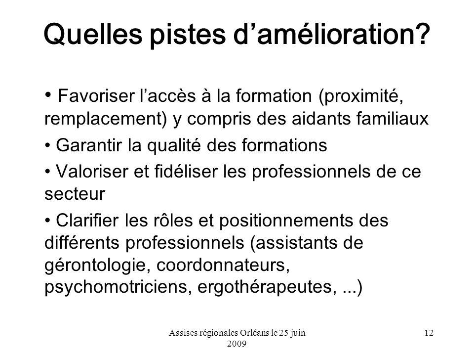 Assises régionales Orléans le 25 juin 2009 12 Quelles pistes damélioration? Favoriser laccès à la formation (proximité, remplacement) y compris des ai