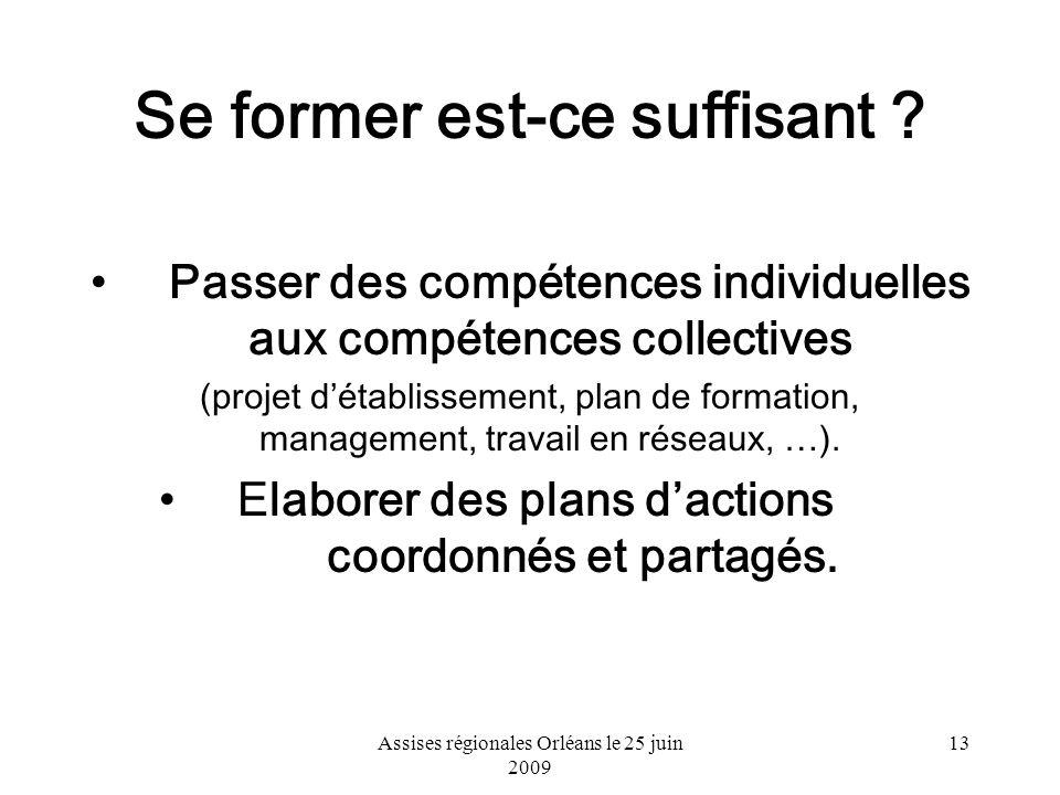Assises régionales Orléans le 25 juin 2009 13 Se former est-ce suffisant ? Passer des compétences individuelles aux compétences collectives (projet dé