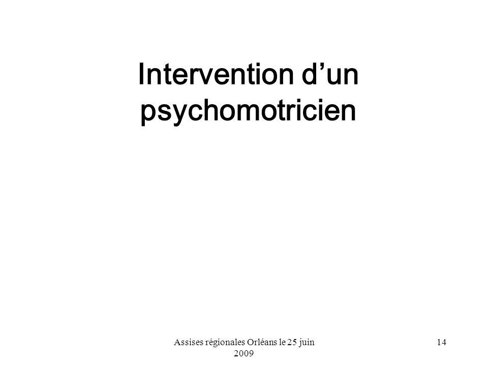 Assises régionales Orléans le 25 juin 2009 14 Intervention dun psychomotricien
