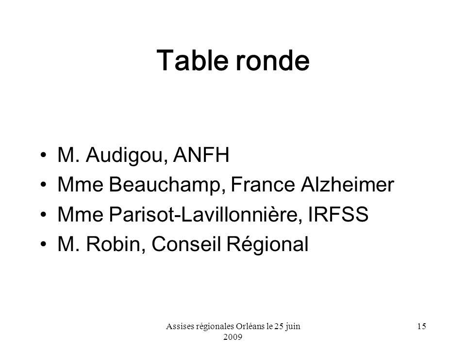 Assises régionales Orléans le 25 juin 2009 15 Table ronde M. Audigou, ANFH Mme Beauchamp, France Alzheimer Mme Parisot-Lavillonnière, IRFSS M. Robin,