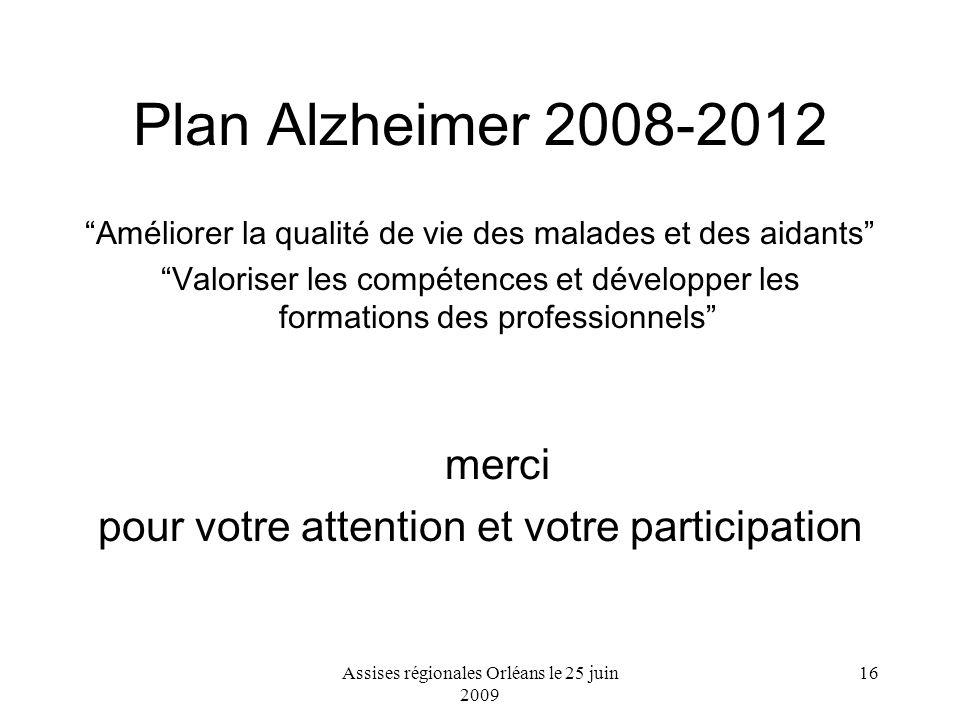 Assises régionales Orléans le 25 juin 2009 16 Plan Alzheimer 2008-2012 Améliorer la qualité de vie des malades et des aidants Valoriser les compétence