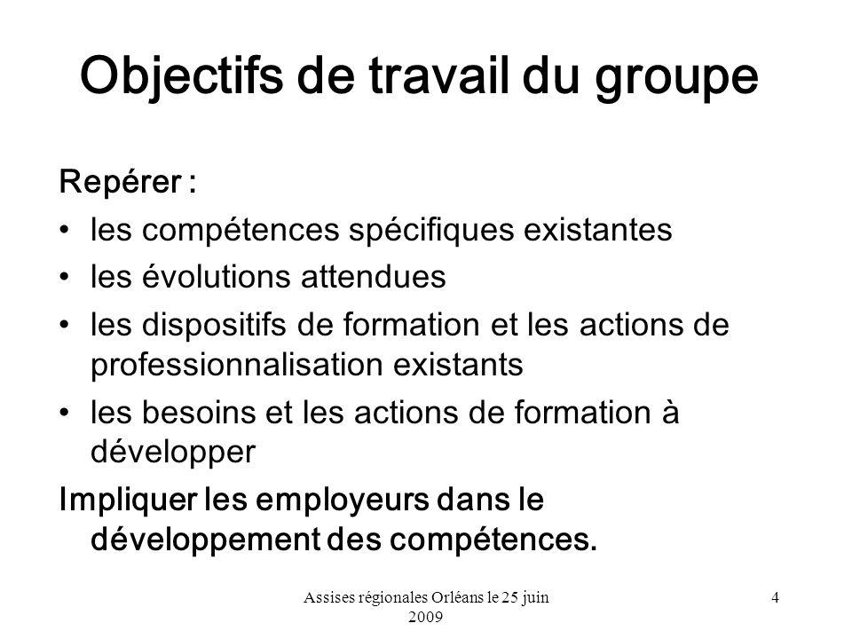 Assises régionales Orléans le 25 juin 2009 4 Objectifs de travail du groupe Repérer : les compétences spécifiques existantes les évolutions attendues