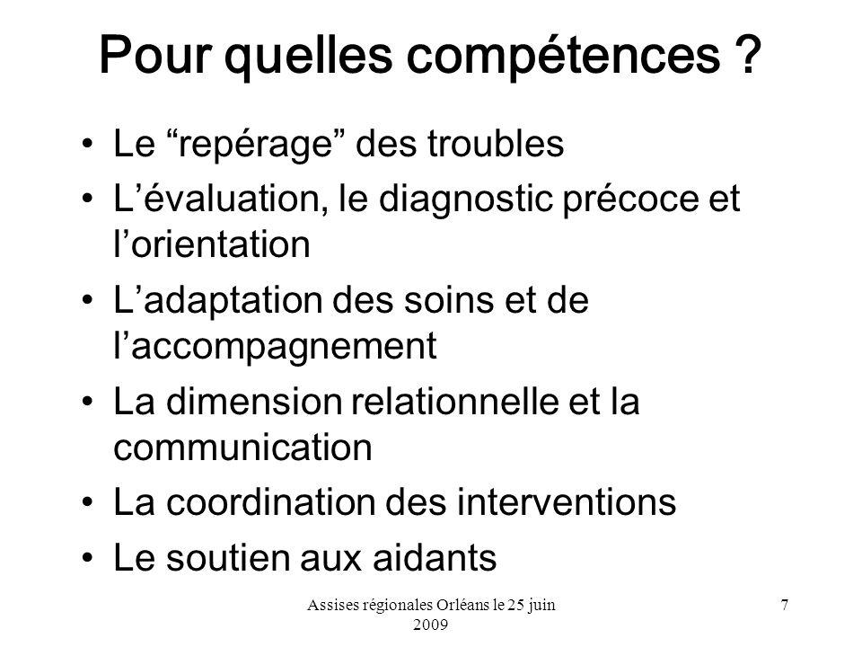Assises régionales Orléans le 25 juin 2009 7 Pour quelles compétences ? Le repérage des troubles Lévaluation, le diagnostic précoce et lorientation La
