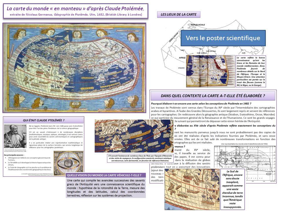 La carte du monde « en manteau » daprès Claude Ptolémée, extraite de Nicolaus Germanus, Géographie de Ptolémée, Ulm, 1482, (Bristish Library à Londres