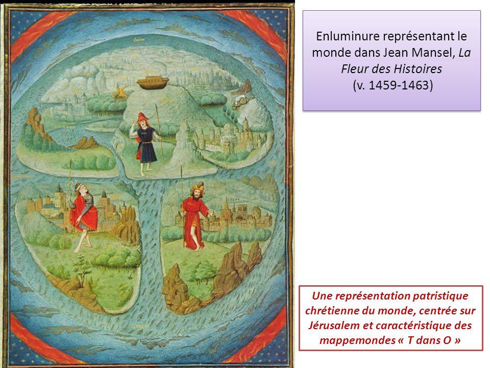 Une représentation patristique chrétienne du monde, centrée sur Jérusalem et caractéristique des mappemondes « T dans O » Enluminure représentant le m